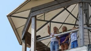 mother and daughter at visitor center observation tower